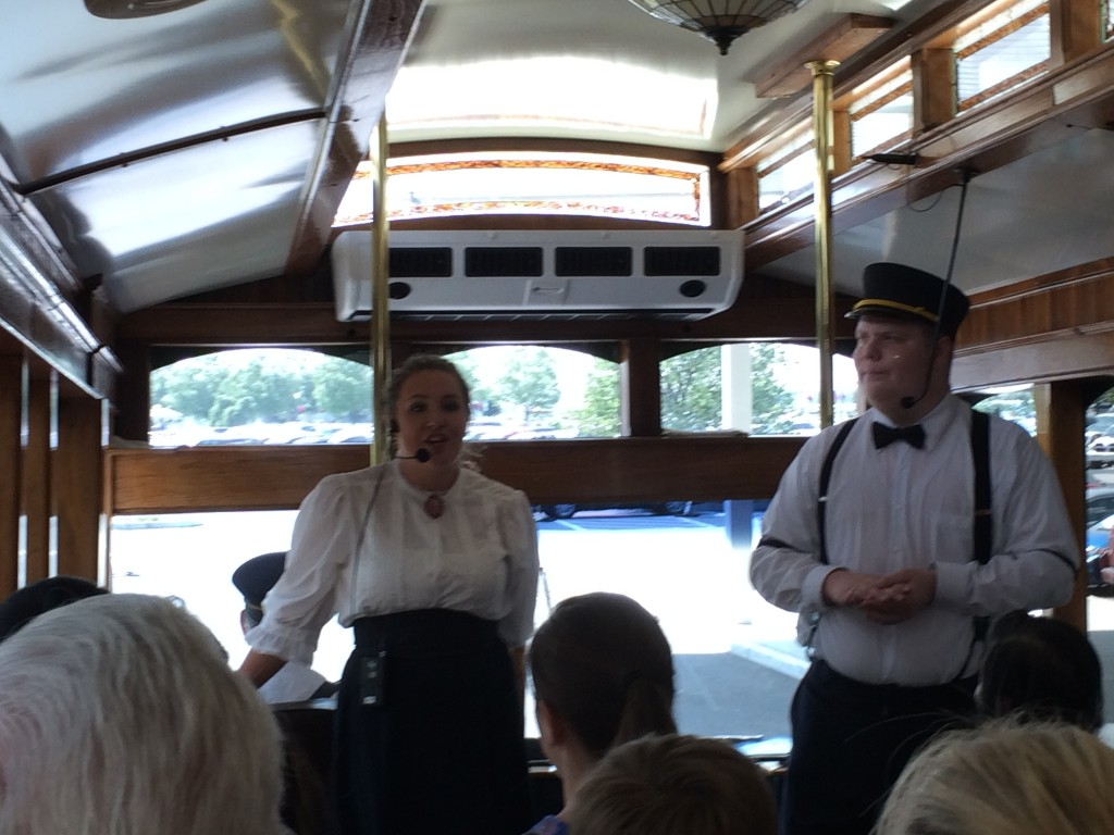 """Emma and """"Wilbur"""" tell the story of Milton Hershey and Hershey PA on a 45 minute trolly ride around town."""