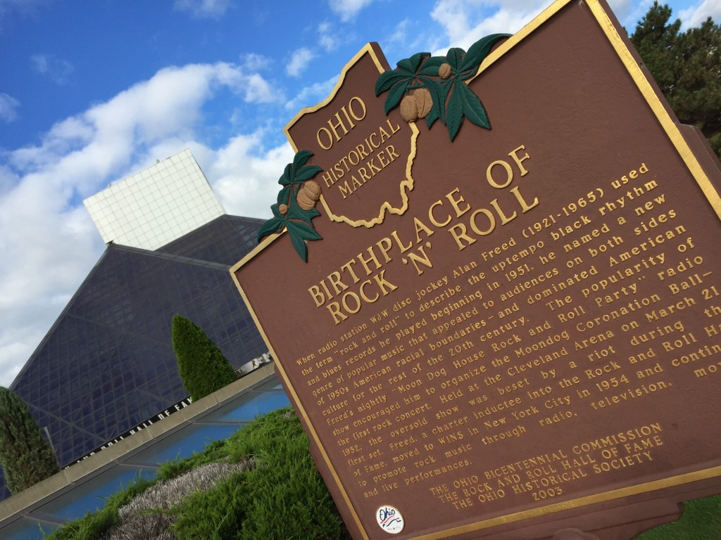 "A marker outside the Rock and Roll Hall of Fame talks about where ""Rock And Roll"" came from."
